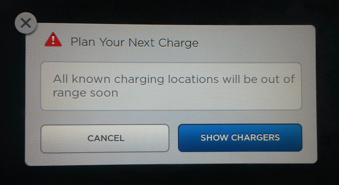 All known charging location will be out of range