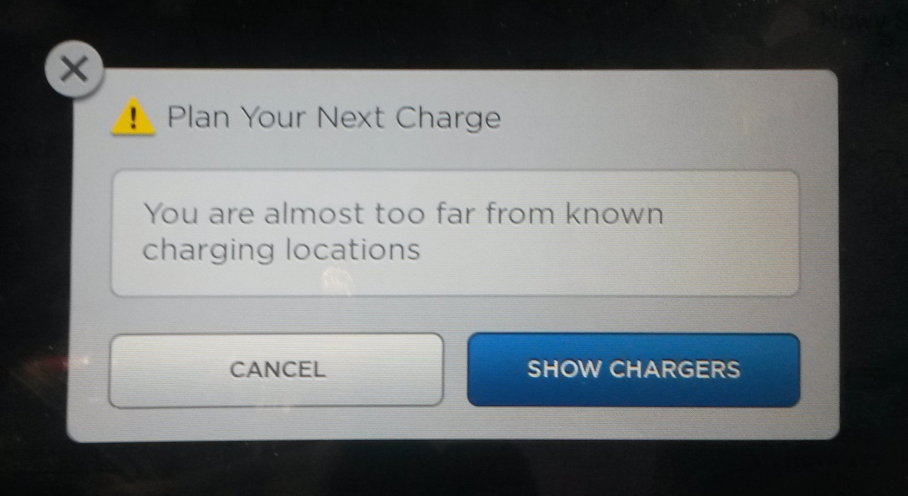 Almost too far from charging locations
