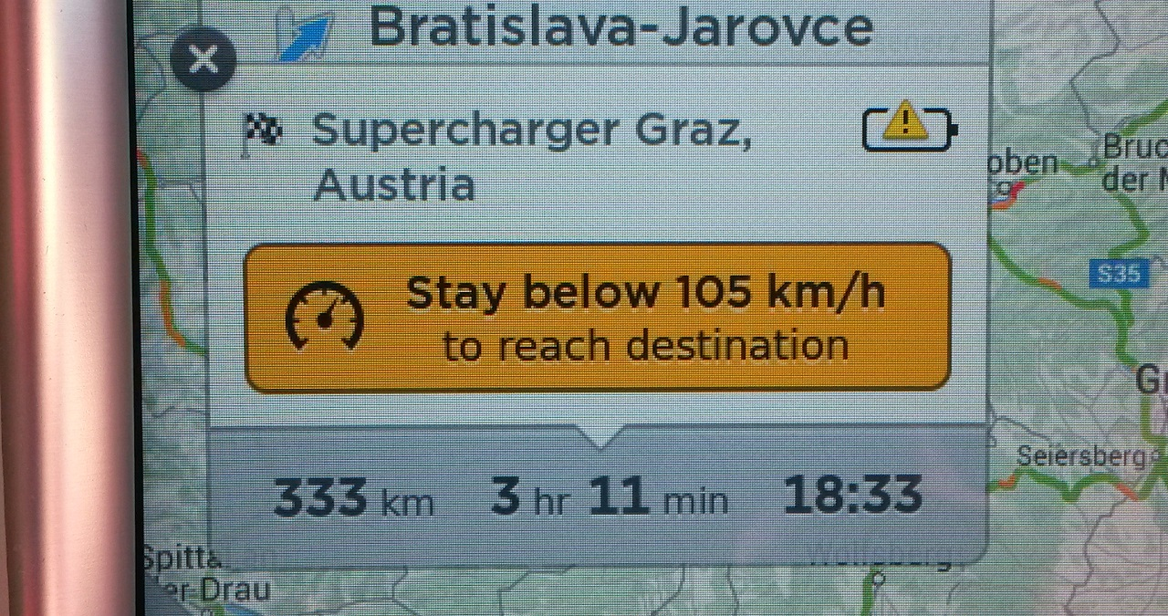 Stay below 105 km/h to reach your destination
